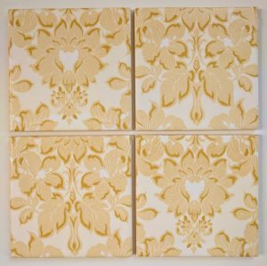 4 Ceramic Coasters in Laura Ashley Gold Damask